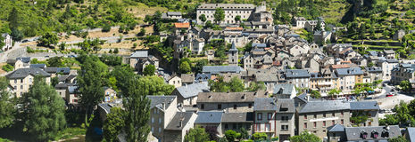 Sainte-Enimie, Gorges du Tarn. Sainte-Enimie, historic town on the Gorges du Tarn (Lozere, Languedoc-Roussillon, France) at summer Stock Photos