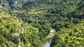 Sainte-Enimie klyftor du Tarn Fotografering för Bildbyråer
