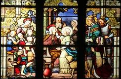 Sainte-Geneviève, das seiner Mutter Anblick in Anwesenheit Heilig-Marcels gibt Stockbild