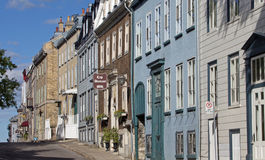 Sainte Genevieve Avenue. Hotels and homes in Genevieve Avenue Old Quebec Stock Photo