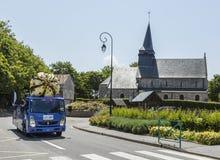 Cornetto Vehicle - Tour de France 2015. Sainte Marguerite sur Mer, France - July 09, 2015: Cornetto Vehicle during the passing of Publicity Caravan before the royalty free stock photo