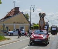 Kleber Caravan - Tour de France 2015. Sainte Marguerite sur Mer, France - July 09, 2015: Kleber Caravan during the passing of Publicity Caravan before the stage stock photos
