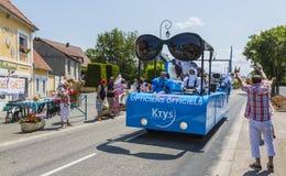 Krys Caravan - Tour de France 2015. Sainte Marguerite sur Mer, France - July 09, 2015: Krys Caravan during the passing of Publicity Caravan before the stage 6 of royalty free stock photography