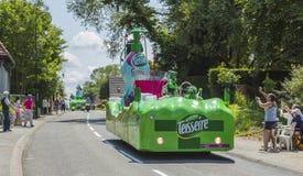 Teisseire Caravan - Tour de France 2015. Sainte Marguerite sur Mer, France - July 09, 2015: Teisseire Caravan during the passing of Publicity Caravan before the royalty free stock photo