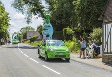Teisseire Caravan - Tour de France 2015. Sainte Marguerite sur Mer, France - July 09, 2015: Teisseire Caravan during the passing of Publicity Caravan before the stock photos