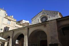 Sainte-Marie kyrka, Bonifacio, sydlig Korsika ö, Frankrike Arkivfoton