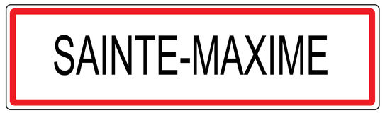 Sainte Maxime city traffic sign illustration in France Stock Photos