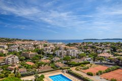 Sainte-Maxime town panorama view royalty free stock images