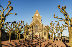 Sainte Mere Eglise. The historical church of Sainte Mere Eglise in Normandy, France Royalty Free Stock Image