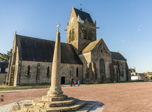 Sainte Mere Eglise. The historical church of Sainte Mere Eglise in Normandy, France Stock Image