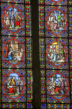 Sainte-Suzanne - Stained glass. Sainte-Suzanne (Mayenne, Pays de la Loire, France) - Stained glass in the ancient church Stock Photo