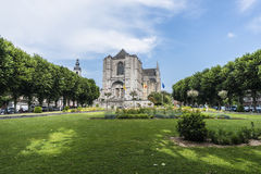 The Sainte-Waudru Collegiate Church in Mons, Belgium. MONS, BELGIUM - JUNE 13, 2014: The Sainte-Waudru Collegiate Church is one of the most characteristic royalty free stock photography