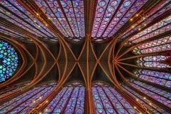Sainten Chapelle i la citerar av Paris arkivbilder
