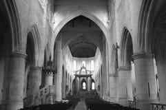 Saintes (France). Saintes (Charente-Maritime, Poitou-Charentes, France): historic city at summer. Church interior. Black and white Royalty Free Stock Photography