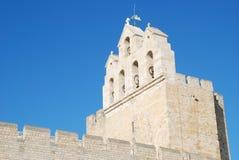 Saintes Maries de la Mer. White stone bell tower of Saintes Maries de la Mer church, Southern France Stock Photo