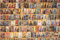 Saints. Religious icons for sale on display on a street stand in Varna, Bulgaria Stock Photos