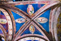 Saints Ceiling Painting Orsanmichele Church Florence Italy. Saints Ceiling Fresco Painting Orsanmichele Church Florence Italy. Painting from 1400s royalty free stock photo