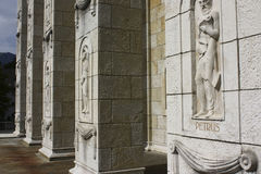 Stone carvings of Saint Peter and other saints on columns of the evangelical reformed church of in Solothurn, Switzerland Stock Photography