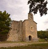 Saints Cosmas and Damian chapel in Gigondas. Romanesque chapel of Saints Cosmas and Damian, 16th century, in Gigondas, Vaucluse, Provence-Alpes-Côte d'Azur royalty free stock images