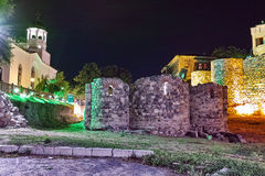 Saints Cyril and Methodius church and reconstructed gate part of Sozopol ancient fortifications, Bulgaria Royalty Free Stock Images