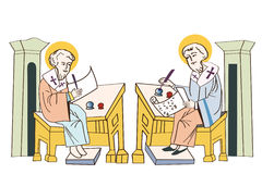 Saints Cyril and Methodius. Manuscripts. The first printer. Royalty Free Stock Photos