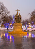 Saints Cyril and Methodius monument at night in Moscow, Russia Stock Photos