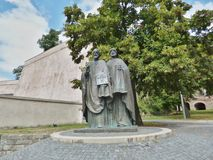Saints Cyril and Methodius Christian missionaries. Saints Cyril and Methodius - Nitra Castle. Two missionaries from Great Moravia stock photography