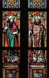 Saints Cyril and Methodius. Stained glass window in parish church of Saint Mark in Zagreb, Croatia Stock Image