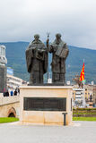 Saints Cyril and Methodius statue  in downtown of Skopje Royalty Free Stock Images