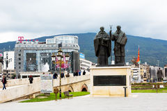 Saints Cyril and Methodius statue  in downtown of Skopje Royalty Free Stock Image