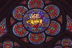 Saints Eustace Antipas Brazen Bull Stained Glass Notre Dame Paris. Saint Eustace Saint Antipas Roasted To Death Brazen Bronze Bull Stained Glass Notre Dame Royalty Free Stock Photo