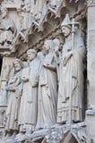 Saints on fasade of The Notre Dame de Paris Stock Photo