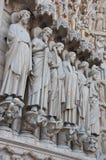 Saints on fasade of The Notre Dame de Paris Stock Image