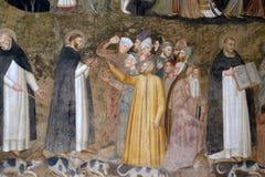 Saints Peter the Martyr and Thomas Aquinas Refute the Heretics, Santa Maria Novella church in Florence. Saints Peter the Martyr and Thomas Aquinas Refute the stock photos