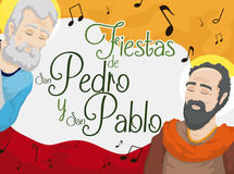 Saints Peter and Paul Celebrating Colombian Feast Days with Music, Vector Illustration Royalty Free Stock Images
