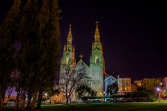 Saints Peter and Paul Church at night in San Francisco Royalty Free Stock Photography