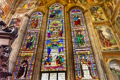 Saints Peter Paul Stained Glass Santa Maria Novella Florence Italy photos stock