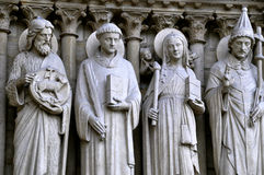 Saints on the Portal of the Virgin, Notre-Dame Stock Photography