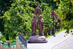 Saints cyril and methodius statue in Kiev Pechersk Lavra stock photos