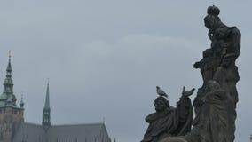 Saints Statues on Charles Bridge stock footage