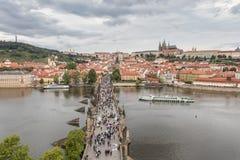 St. Vitus Cathedral, Charles Bridge and Vltava river in Prague royalty free stock photo
