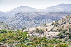 Saiq高原的阿曼村庄 免版税库存照片