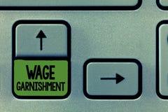Saisie - arrêt de salaire d'écriture des textes d'écriture Signification de concept déduisant l'argent de la compensation command photo stock