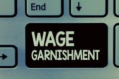 Saisie - arrêt de salaire d'écriture des textes d'écriture Signification de concept déduisant l'argent de la compensation command images libres de droits