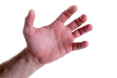 Saisissant la main masculine gauche d'isolement sur le blanc Photos libres de droits