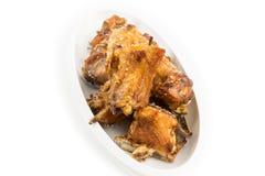 Saison cuite à la friteuse de poulet avec le sel gemme Photo stock