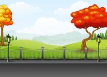 Saison d'automne avec le fond de paysage de route illustration libre de droits
