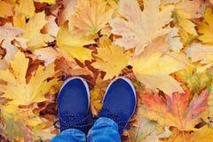 Saison d'automne dans des chaussures de style de hippie Photo stock