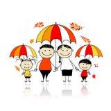 Saison d'automne. Famille avec des parapluies illustration libre de droits