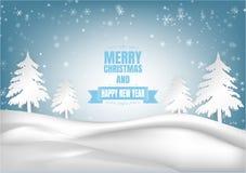Saison d'hiver avec le flocon de neige et l'arbre Illustration de vecteur de Joyeux Noël et de bonne année Photos libres de droits